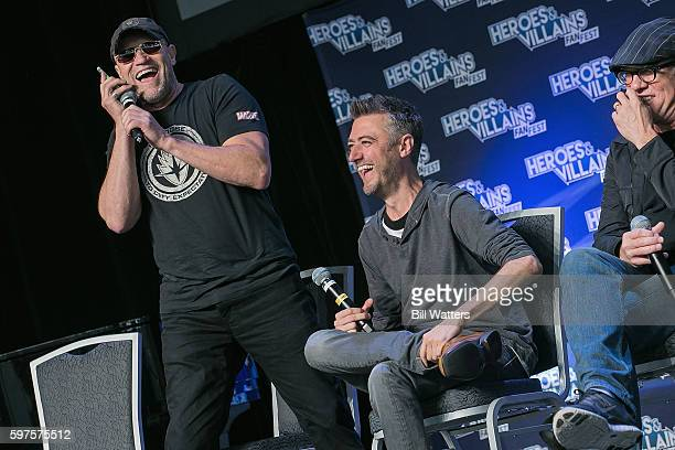 Actors Michael Rooker Gregg Henry and Sean Gunn attend the Guardians of the Galaxy panel during Heroes and Villains Fan Fest at San Jose Convention...