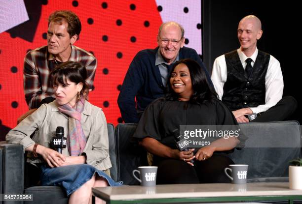 Actors Michael Shannon Richard Jenkins Doug Jones Sally Hawkins and Octavia Spencer attend 'The Shape of Water' press conference during 2017 Toronto...
