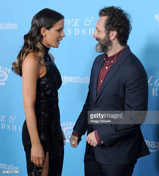 Actors Michael Sheen and Kate Beckinsale arrive at the premiere of Roadside Attractions' Love And Friendship at Directors Guild Of America on May 3...