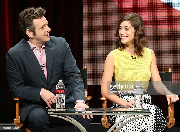 Actors Michael Sheen and Lizzy Caplan speak onstage during the 'Masters of Sex' panel discussion at the Showtime portion of the 2015 Summer TCA Tour...