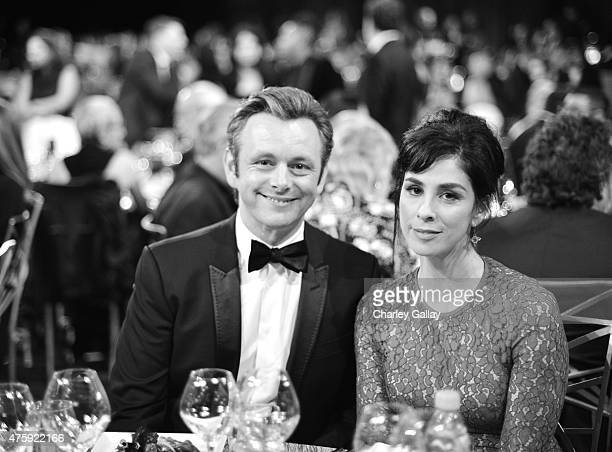Actors Michael Sheen and Sarah Silverman attend the 2015 AFI Life Achievement Award Gala Tribute Honoring Steve Martin at the Dolby Theatre on June 4...
