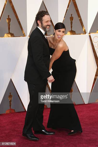 Actors Michael Sheen and Sarah Silverman attend the 88th Annual Academy Awards at Hollywood Highland Center on February 28 2016 in Hollywood...