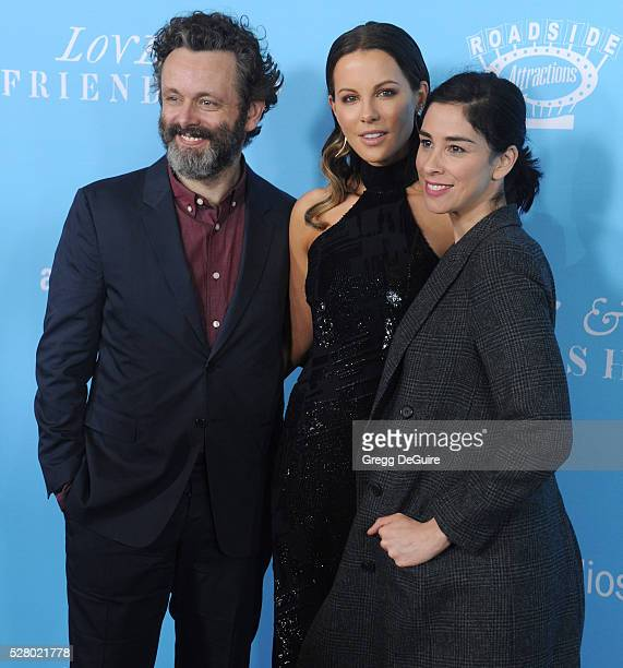 Actors Michael Sheen Kate Beckinsale and Sarah Silverman arrive at the premiere of Roadside Attractions' Love And Friendship at Directors Guild Of...