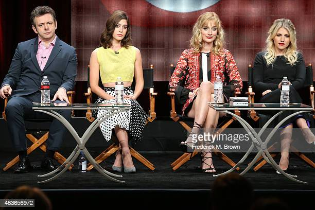 Actors Michael Sheen Lizzy Caplan Caitlin FitzGerald and Annaleigh Ashford speak onstage during the 'Masters of Sex' panel discussion at the Showtime...