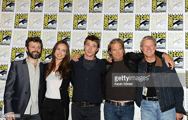 Actors Michael Sheen Olivia Wilde Garrett Hedlund Jeff Bridges and Bruce Boxleitner pose at the Tron Legacy panel during ComicCon 2010 at San Diego...