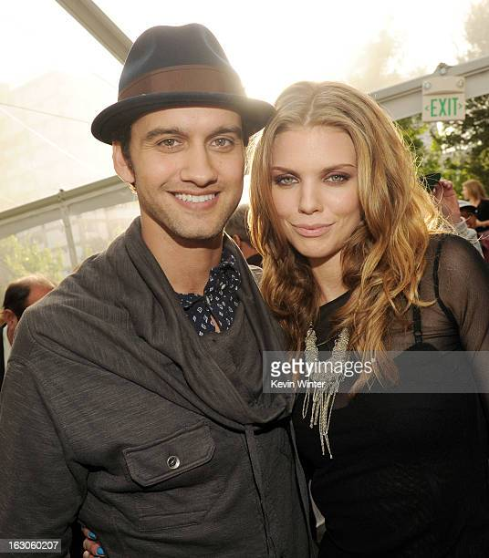 Actors Michael Steger and AnnaLynne McCord pose at the CW Network's 90210 Season 5 Wrap Party on March 3 2013 in Los Angeles California