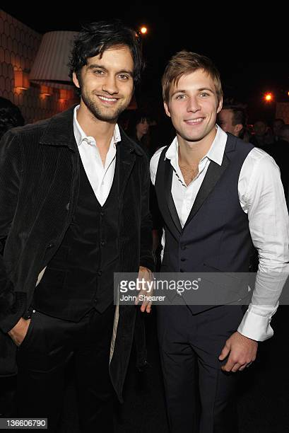 Actors Michael Steger and Justin Deeley attends the Kick Off for Golden Globes Week 2012 hosted by Audi and Martin Katz at Cecconi's Restaurant on...