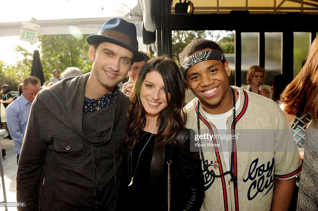 Actors Michael Steger, Shenae Grimes and Tristan Wilds pose at the CW Network's '90210' Season 5 Wrap Party on March 3, 2013 in Los Angeles, California.