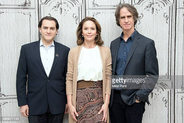 Actors Michael Stuhlbarg and Diane Lane and director Jay Roach attend the AOL Build series to discuss the movie Trumbo at AOL Studios In New York on...