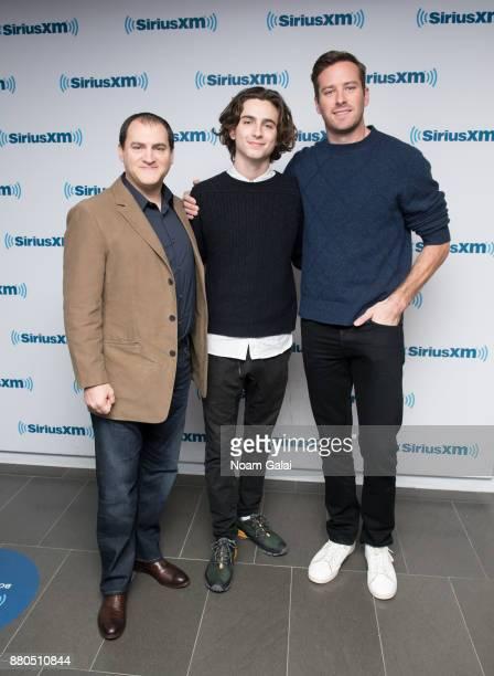 Actors Michael Stuhlbarg Armie Hammer and Timothee Chalamet visit the SiriusXM Studios on November 27 2017 in New York City