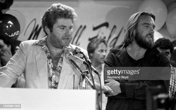 Actors Michael Talbott and John Diehl of the hit television series 'Miami Vice' speaks during a press conference during 'Miami Vice Day' at Marshall...