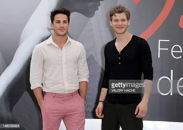 US actors Michael Trevino and Joseph Morgan pose during a photocall for the TV show The vampire diaries as part of the 52nd Monte Carlo Television...
