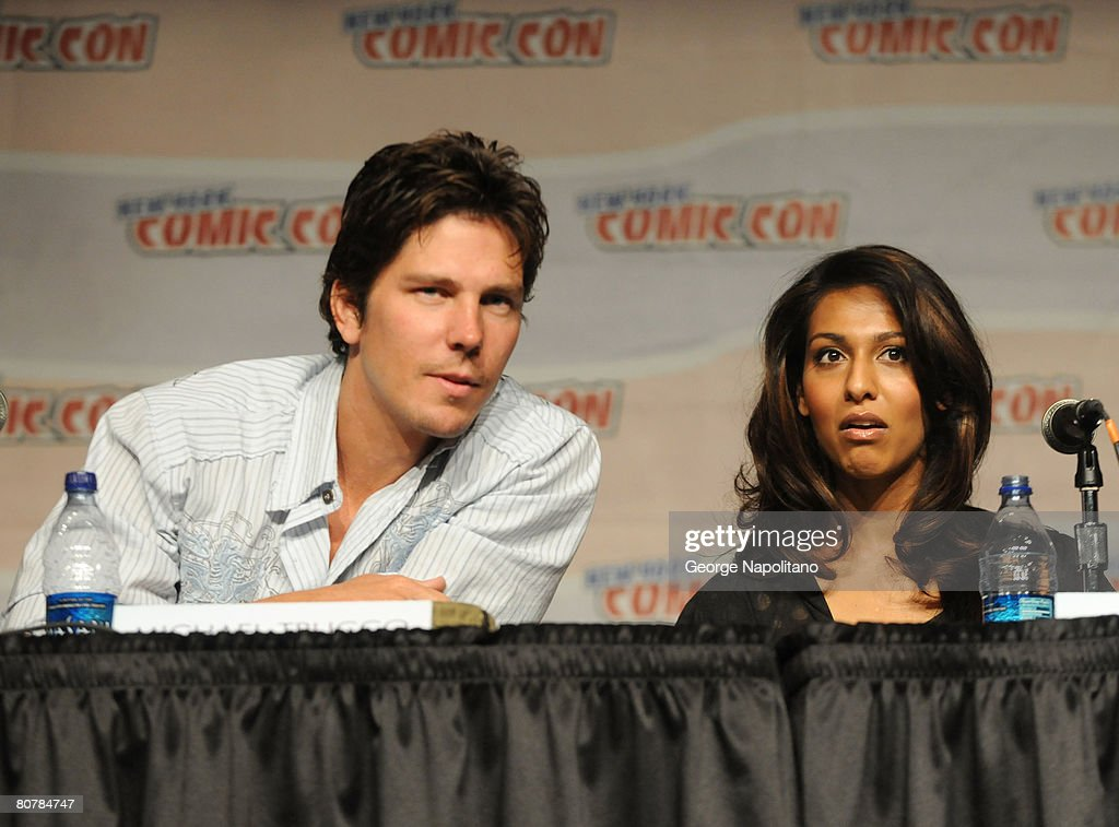 Actors Michael Trucco and Rekha Sharma attend The SciFi Channel Presents Battlestar Galactica at New York ComicCon at the Jacob Javits Center on...