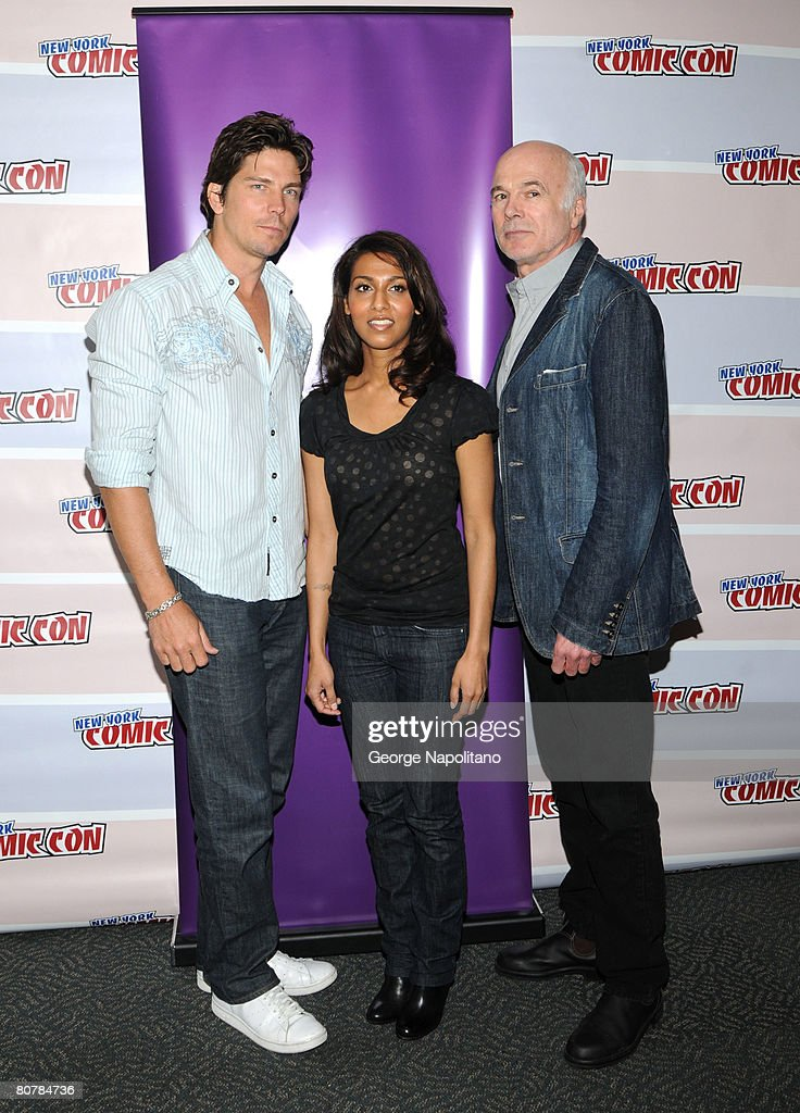 Actors Michael Trucco Rekha Sharma and Michael Hogan attend The SciFi Channel Presents Battlestar Galactica at New York ComicCon at the Jacob Javits..