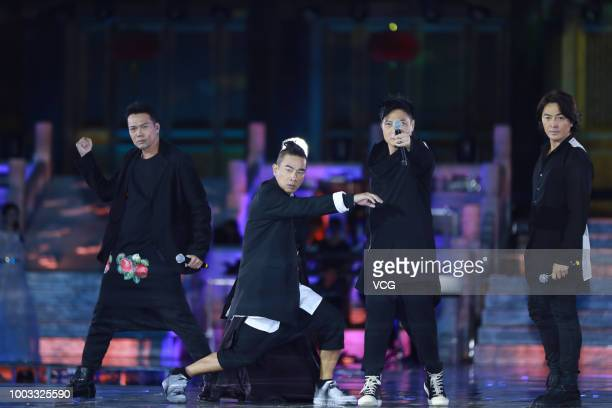 Actors Michael Tse Tinwah Jordan Chan SiuChun Chin Kalok and Ekin Cheng perform onstage during the opening ceremony of the 4th Annual International...
