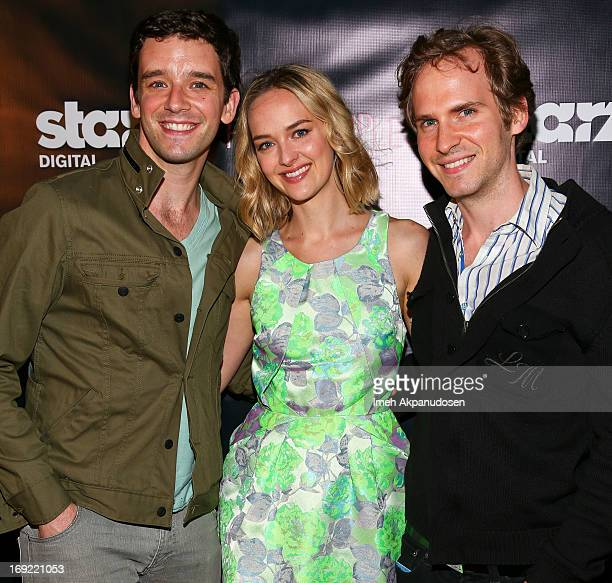 Actors Michael Urie Jess Weixler and Ryan Spahn attend the premiere of 'Free Samples' at Laemmle NoHo 7 on May 21 2013 in North Hollywood California