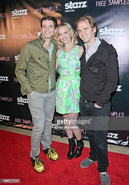 Actors Michael Urie Jess Weixler and Ryan Spahn attend the premiere of Free Samples at the Laemmle NoHo 7 on May 21 2013 in North Hollywood California