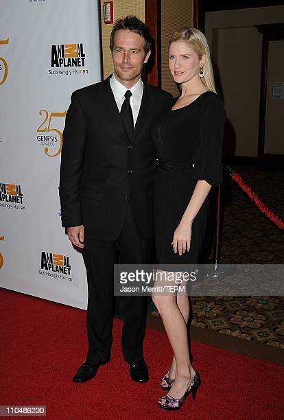 Actors Michael Vartan and Lauren Skaar arrive at the 25th Anniversary Genesis Awards hosted by the Humane Society of the United States held at the...