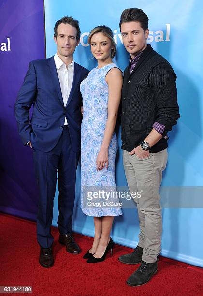 Actors Michael Vartan Christine Evangelista and Josh Henderson arrive at the 2017 NBCUniversal Winter Press Tour Day 1 at Langham Hotel on January 17...