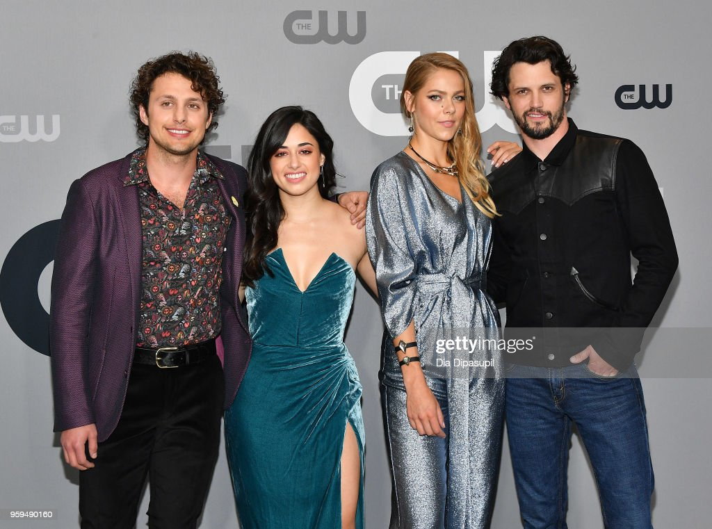 Actors Michael Vlamis, Jeanine Mason, Lily Cowles and Nathan Parsons attend the 2018 CW Network Upfront at The London Hotel on May 17, 2018 in New York City.
