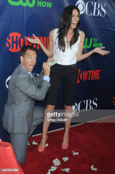 Actors Michael Weatherly and Daniela Ruah arrive at the 2014 Television Critics Association Summer Press Tour CBS CW And Showtime Party at Pacific...