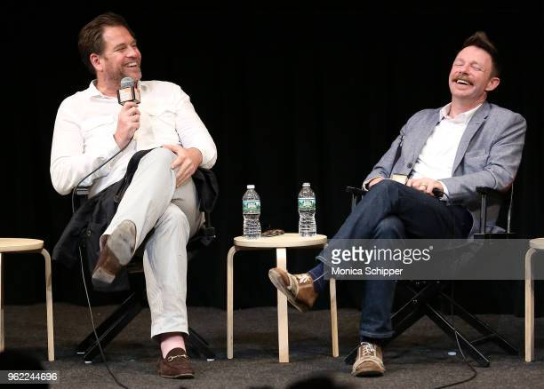 Actors Michael Weatherly and Mackenzie Astin speak on stage during the QA following the Last Days Of Disco 20th anniversary screening at Walter Reade...