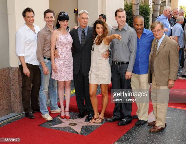Actors Michael Weatherly Brian Dietzen Pauley Perrette Mark Harmon Cote de Pablo Sean Murray Rocky Caroll and David McCallum participate in the Mark...