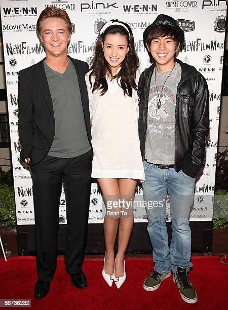 Actors Michael Welch Christian Serratos and Justin Chon arrive at Lost Dream Los Angeles Premiere at the Stanley Kramer Theater on May 7 2009 in...