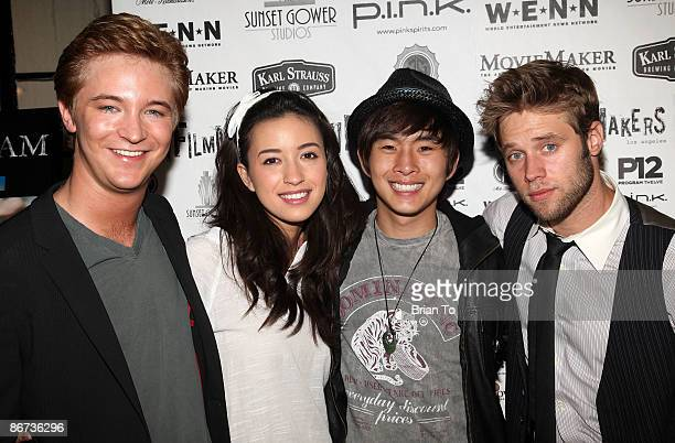 Actors Michael Welch Christian Serratos Justin Chon and Shawn Sipos arrive at Lost Dream Los Angeles Premiere at the Stanley Kramer Theater on May 7...