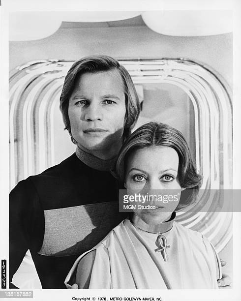 Actors Michael York and Jenny Agutter in a publicity still for the dystopian science fiction film 'Logan's Run' 1976