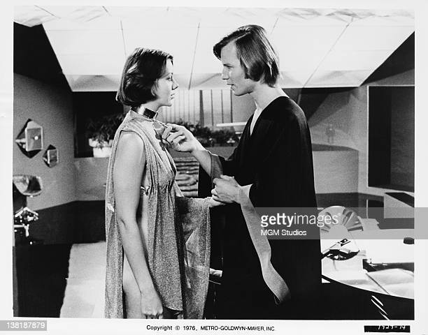 Actors Michael York and Jenny Agutter in a scene from the dystopian science fiction film 'Logan's Run', 1976.