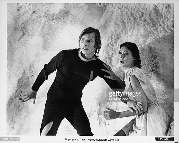 Actors Michael York and Jenny Agutter star in the dystopian science fiction film 'Logan's Run', 1976.