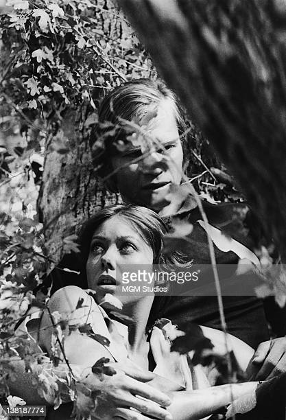Actors Michael York and Jenny Agutter star in the dystopian science fiction film 'Logan's Run' 1976