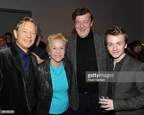 Actors Michael York Pat York Steven Fry and Steven Webb attend Herb Alpert Black Totem Series Artist Reception held at Ace Gallery on February 4 2010...