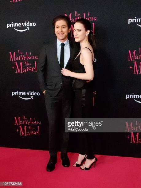 Actors Michael Zegen and Actress Rachel Brosnahan attend The Marvelous Mrs Maisel New York Premiere at The Paris Theatre on November 29 2018 in New...