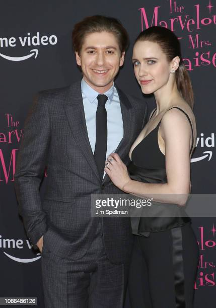 Actors Michael Zegen and Rachel Brosnahan attend the The Marvelous Mrs Maisel New York premiere at The Paris Theatre on November 29 2018 in New York...