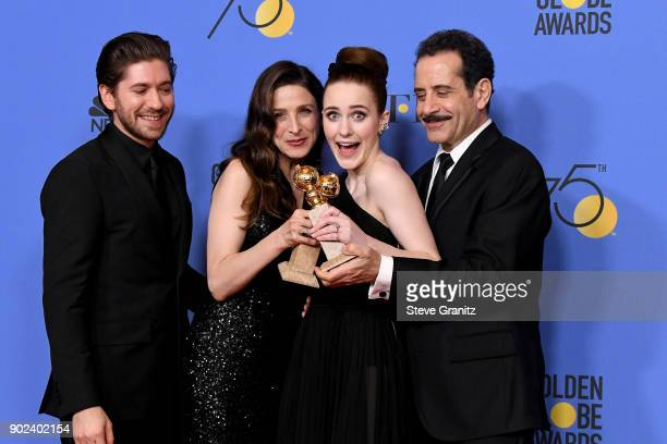 Actors Michael Zegen Marin Hinkle Rachel Brosnahan and Tony Shalhoub of 'The Marvelous Mrs Maisel' winner of the award for Best Television Series...