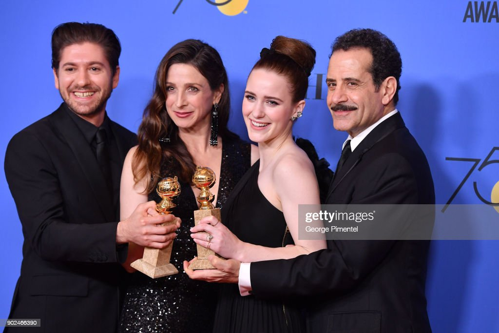Actors Michael Zegen, Marin Hinkle, Rachel Brosnahan and Tony Shalhoub of 'The Marvelous Mrs. Maisel,' winner of the award for Best Television Series (Musical or Comedy), pose in the press room during The 75th Annual Golden Globe Awards at The Beverly Hilton Hotel on January 7, 2018 in Beverly Hills, California.