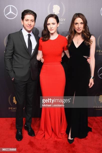 Actors Michael Zegen Rachel Brosnahan and Marin Hinkle attend The 77th Annual Peabody Awards Ceremony at Cipriani Wall Street on May 19 2018 in New...