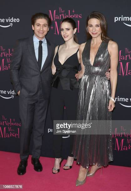 Actors Michael Zegen Rachel Brosnahan and Marin Hinkle attend the The Marvelous Mrs Maisel New York premiere at The Paris Theatre on November 29 2018...