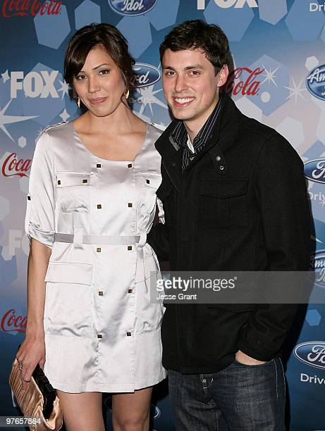 Actors Michaela Conlin and John Francis Daley arrive at Fox's Meet The Top 12 'American Idol' Finalists at Industry on March 11 2010 in Los Angeles...