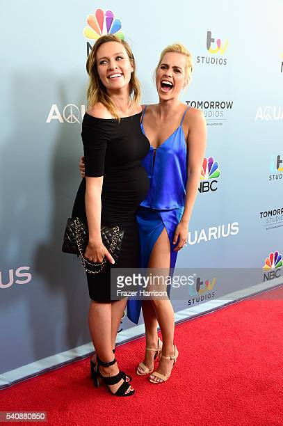 "Actors Michaela McManus and Claire Holt arrive at the Premiere of NBC's ""Aquarius"" Season 2 at The Paley Center for Media on June 16, 2016 in Beverly..."