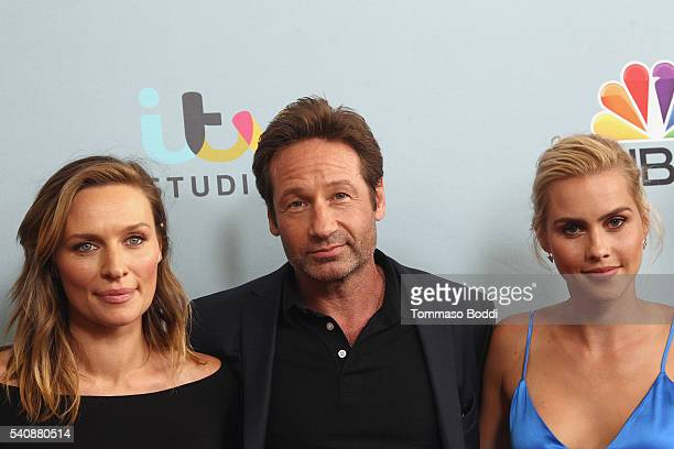 "Actors Michaela McManus, David Duchovny and Claire Holt attend the premiere of NBC's ""Aquarius"" Season 2 held at The Paley Center for Media on June..."
