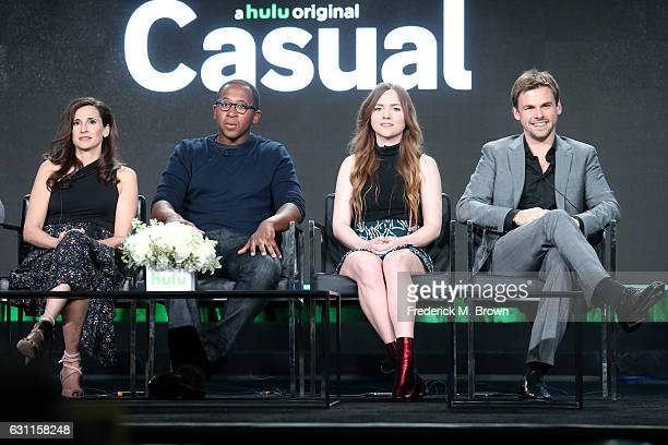 Actors Michaela Watkins Nyasha Hatendi Tara Lynne Barr and Tommy Dewey from Hulu's Original Series 'Casual' speak onstage during Hulu's 2017 Winter...