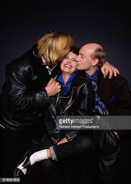 Actors Michel Blanc MiouMiou and Gerard Depardieu promote the movie Tenue de Soirée directed by Bertrand Blier