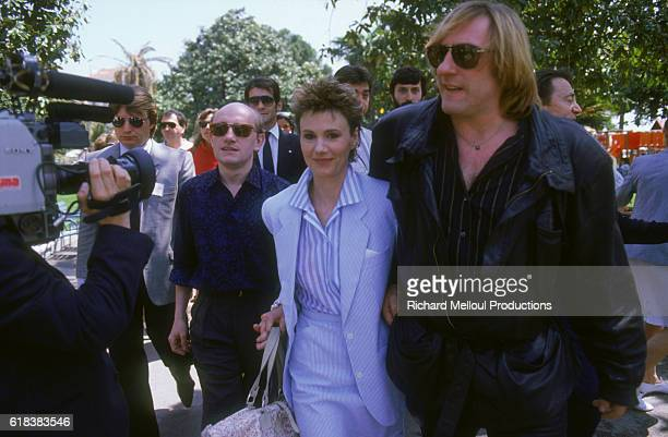 Actors Michel Blanc MiouMiou and Gerard Depardieu stars of the film Tenue de Soiree arriving at the Cannes Film Festival