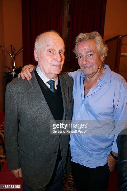 Actors Michel Bouquet and Actor of the Piece Pierre Arditi attend 'Le Mensonge' Theater Play Held at Theatre Edouard VII on September 14 2015 in...