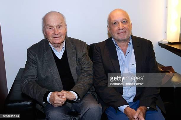 Actors Michel Bouquet and Francois Berleand attend the 'Vivement Dimanche' French TV Show at Pavillon Gabriel on September 22 2015 in Paris France