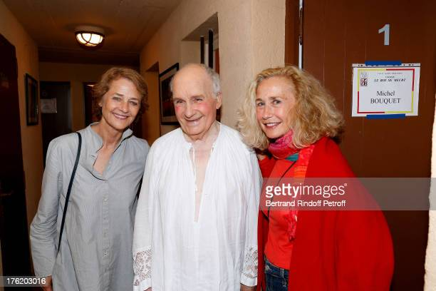 Actors Michel Bouquet Brigitte Fossey and Charlotte Rampling after 'Le Roi se meurt' on the last day of the 29th Ramatuelle Festival on August 11...