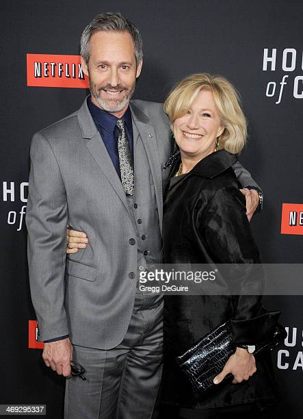Actors Michel Gill and Jayne Atkinson arrive at the House Of Cards Season 2 special screening at Directors Guild Of America on February 13 2014 in...